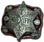 Sheriff Badge Belt Buckle + display stand
